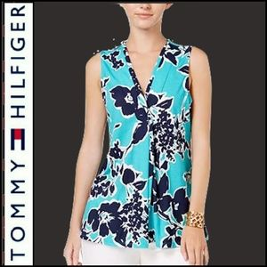 TOMMY HILFIGER Blue Floral Print Sleeveless Top